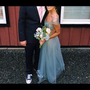 Gray/blue tulle bridesmaid dress